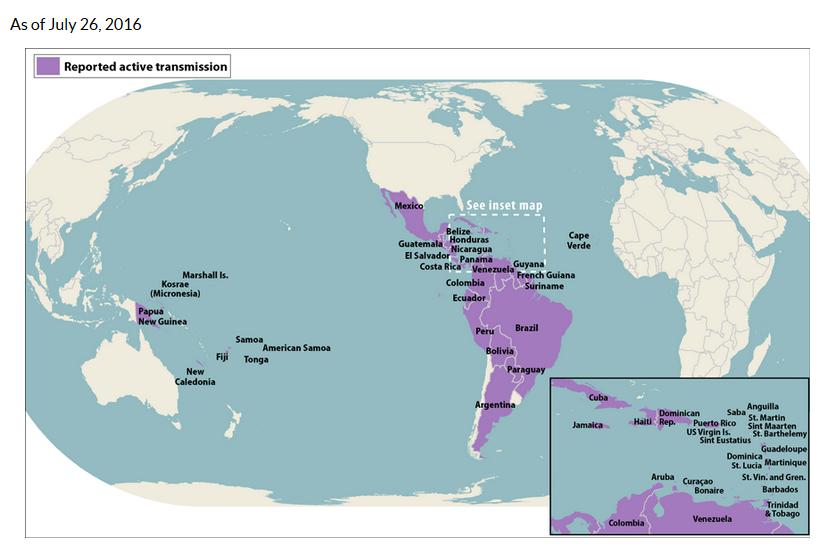 Obszary endemiczne wirusa zika